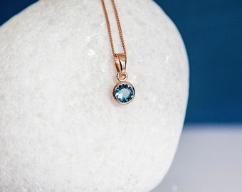 18ct Rose Gold Dipped Aquamarine CZ March Birthstone Pendant Necklace
