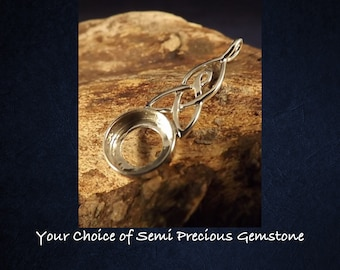 Sterling Silver Celtic Pendant Necklace * Choice of 10mm Semi Precious Gemstone *
