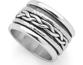 Sterling Silver Spinner Ring for Women * Personalized With Up To 10 Characters * Wide Band * Custom Thumb Ring * Plaited Design *