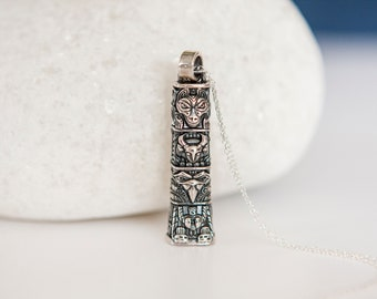 Sterling Silver Wolf, Antelope and Raven Spirits Totem Pendant Necklace