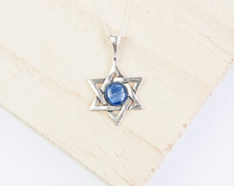 Sterling Silver Star of David Pendant Necklace * Personalized with 40 Characters * Choice of 10mm Semi Precious Gemstone *