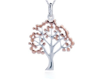 Sterling Silver and 18ct Gold Cherry Blossom Tree Necklace for Women or Girls * Personalized with 40 Characters * Nature Pendant Design