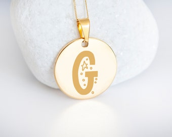 Personalised 9ct Yellow Gold Initial 'G' Alphabet Pendant Necklace
