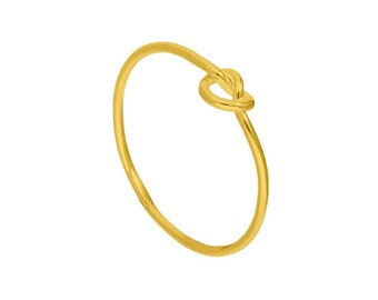 Personalized 18ct Yellow Gold Dainty Heart Knot Stacking Ring