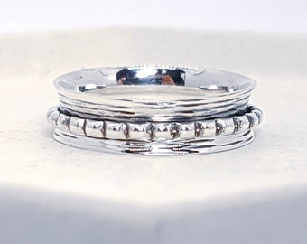 UK S Personalised Slim Dotty Spinner Ring * Sterling Silver * Boho * Anxiety, Meditation, Worry, Spinning Jewelry * Spin, Fidget