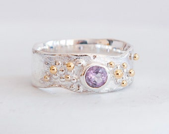 Sterling Silver Purple Amethyst Ring for Women * Personalized With Up To 40 Characters * Organic Gemstone Ring *