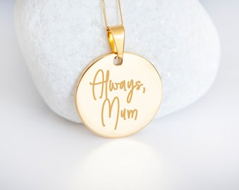 Personalised Own Handwriting 9ct Yellow Gold Coin Disc Pendant Necklace