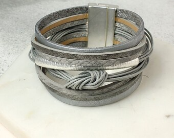 Personalised Grey Leather Layered Knot Bracelet with Silver Detail