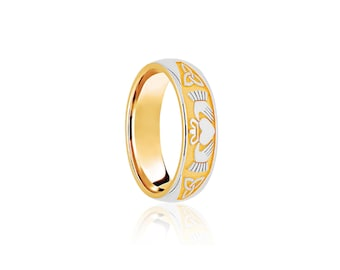 9ct Yellow and White Gold Ring for Women or Men * Celtic Gold Wedding Band * 5mm 6mm 7mm 8mm