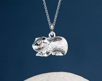 Personalised Sterling Silver Baby Guinea Pig Pendant Necklace