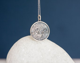 Sterling Silver London Skyline Disc Pendant Necklace