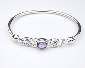 Personalised Amethyst Celtic Bracelet * Sterling Silver * Celtic Gift * Celtic Bangle * Celtic Love Knot * Celtic Jewelry * Gemstone Jewelry