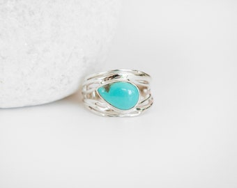 Sterling Silver Ring with Original American Turquoise Gemstone