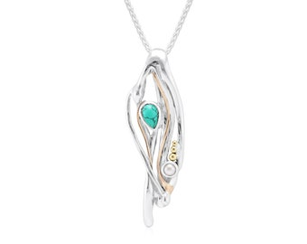 Sterling Silver Molten Pendant Necklace with Turquoise and White Freshwater Pearl Gemstones