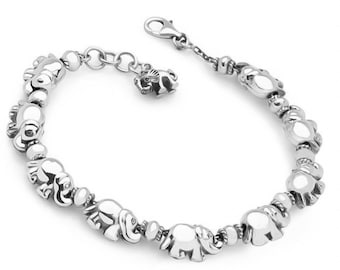 Sterling Silver Elephant Bracelet for Women * Personalized with 40 Characters * Baby Elephant Family Animal Bracelet Design