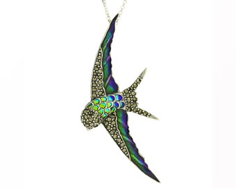 Sterling Silver Art Nouveau Dragonfly Pendant Necklace with Marcasite