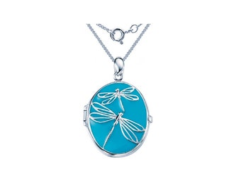 Sterling Silver Dragonfly Locket Necklace * 2 Picture Photos * Memorial Keepsake * Mourning Charm