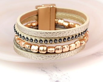 Personalised Golden Leather Layered Bracelet with Crystals and Beads