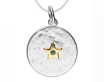 Personalized Sterling Silver and 18ct Gold Star May Birthstone Pendant Necklace with Cubic Zirconia Emerald Gemstone