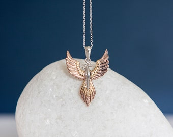 Sterling Silver and 18ct Gold Rising Phoenix Pendant Necklace