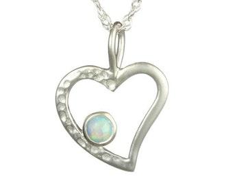 Lacey Mae * Opal Heart Necklace * Sterling Silver * Opalite * Gemstone Heart * Love Pendant * Heart Chakra * Healing * Birthday Gift *