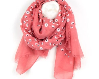 Personalised Coral Pink Scarf with Dainty Daisy Print - 70cm x 180cm