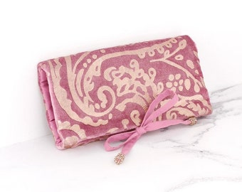 Personalised Pink Velvet and Rose Gold Paisley Jewellery Wrap
