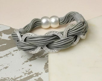 Personalised Multi Strand Grey Bracelet With Textured Silver Rings