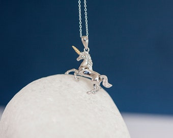 Sterling Silver Unicorn Pendant Necklace with 18ct Yellow Gold Horn