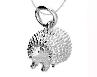 Personalized Sterling Silver Hedgehog Pendant Necklace