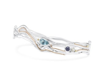 Sterling Silver Bangle Bracelet with Sky Blue Topaz, Freshwater Pearl and Iolite