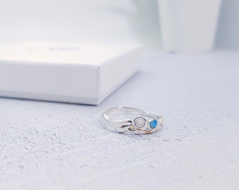 Personalized Sterling Silver Rainbow Moonstone and Blue Opal Ring for Women * Organic Gemstone Ring