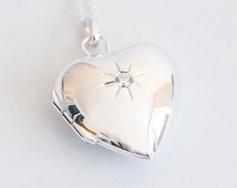 Sterling Silver Heart Locket Necklace * Personalized with 40 Engraved Characters * 2 Picture Photos * Memorial Keepsake * Mourning Charm *