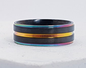 UK Q Personalised Rainbow Ring * Stainless Steel