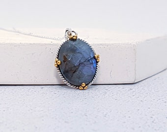 Sterling Silver Blue Labradorite Necklace for Men or Women * Organic Gemstone Pendant Design