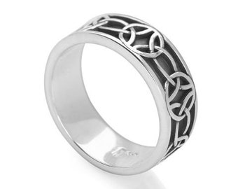 Personalized Sterling Silver Celtic Ring for Women or Men * Wide Band * Custom Thumb Ring