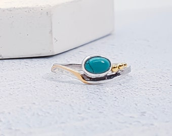 Sterling Silver Tibetan Turquoise Gemstone Ring for Women