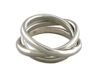 Personalised Sterling Silver Interlocking Russian Wedding Ring