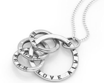 Sterling Silver Mothers Necklace for Women * Four Circles of Love Pendant Jewelry Design