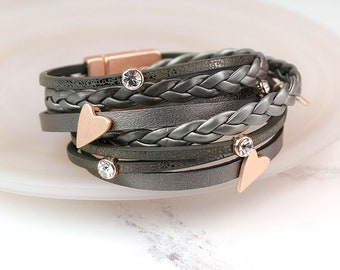 Personalised Leather Wrap Bracelet with Crystals and Rose Gold Hearts