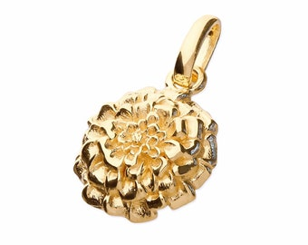 18ct Gold Marigold Necklace for Women or Girls * Personalized with 40 Characters * October Flower Nature Pendant Design