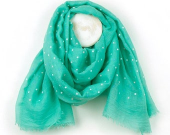 Personalised Mint Green Scarf with Mixed Pastel Polka Dot Print - 70cm x 180cm