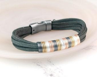 Personalised Grey Cord Layered Bracelet with Multi Metallic Rings