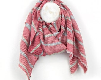 Personalised Red Pleated Scarf with Mustard and Blue Chevron Stripes - 60cm x 180cm
