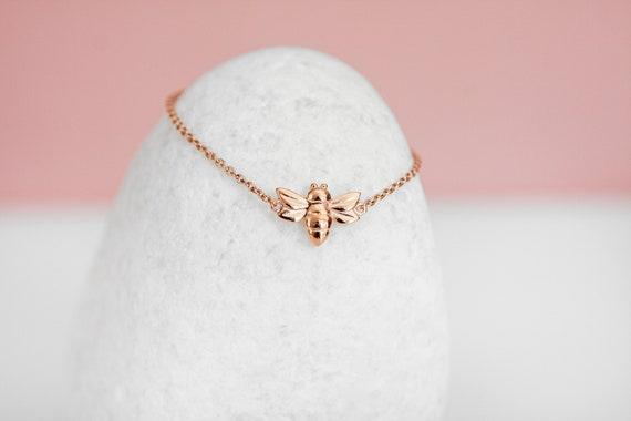 Personalised Rose Gold Baby Bee Bracelet