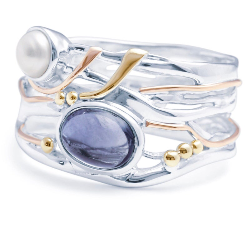 Organic Gemstone Ring * Personalized With Up To 40 Characters Sterling Silver White Freshwater Pearl and Iolite Ring for Women