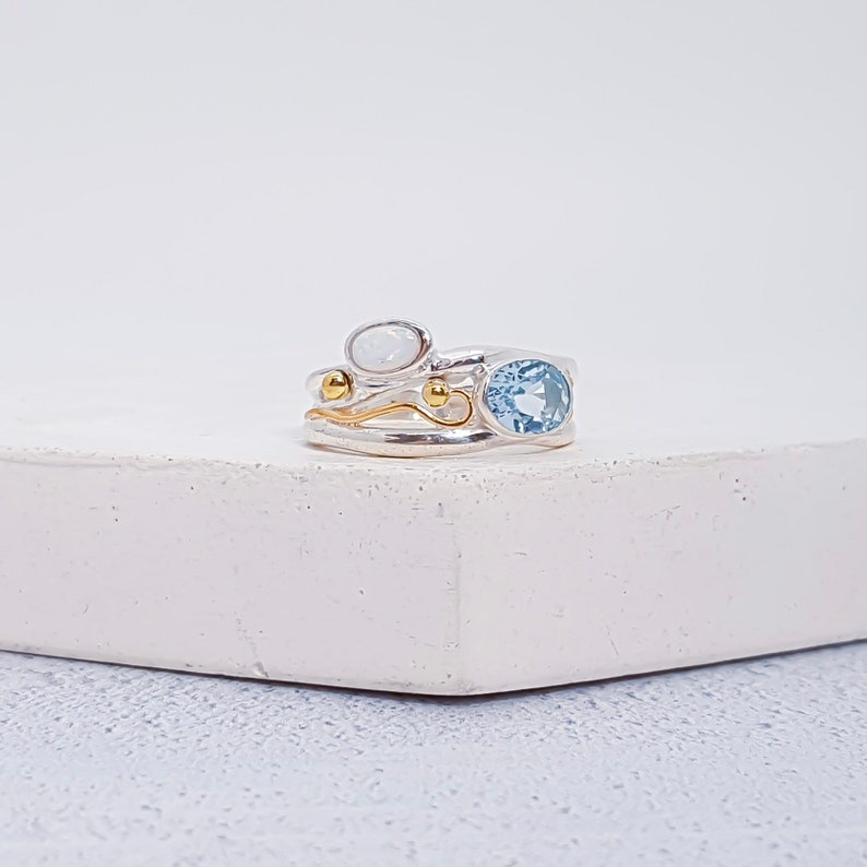 UK L Sterling Silver Sky Blue Topaz and White Opal Ring for Women Organic Gemstone Ring * Personalized With Up To 40 Characters