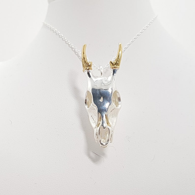 Sterling Silver Deer Skull Jewelry for Men or Women Memento Mori Pendant Design Personalized With Up To 40 Characters