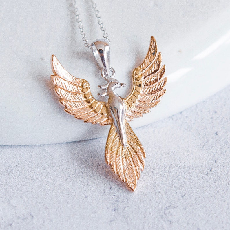 eb17c06c845 Sterling Silver and 18ct Rose Gold Phoenix Necklace for Men or Women *  Personalized with 40 Characters * Rising Phoenix Bird Pendant Design