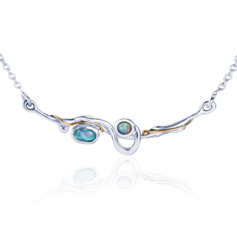 Personalized With 40 Characters Organic Gemstone Pendant Design * Sterling Silver Blue and White Opal Necklace for Women